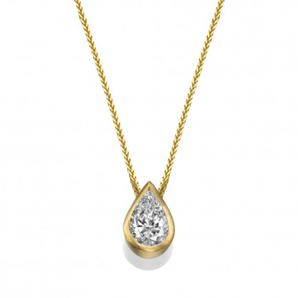 שרשרת יהלומים - תליון יהלום בצורת טיפה - שיבוץ כוס בצהוב