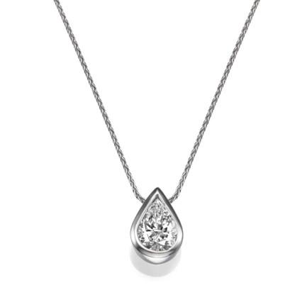 שרשרת יהלומים - תליון יהלום בצורת טיפה - שיבוץ כוס בלבן