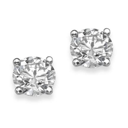 עגילי יהלומים - עגילי סוליטר