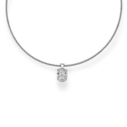 שרשרת יהלומים - תליון יהלום אובל