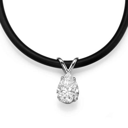 שרשרת יהלומים - תליון טיפה על חוט סילי