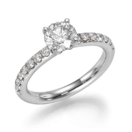 טבעת אירוסין - טבעת יהלומים - דגם עגולה בצינור משובץ