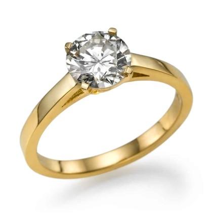 טבעת אירוסין - טבעת יהלומים - דגם סוליטר צהוב עמית 2