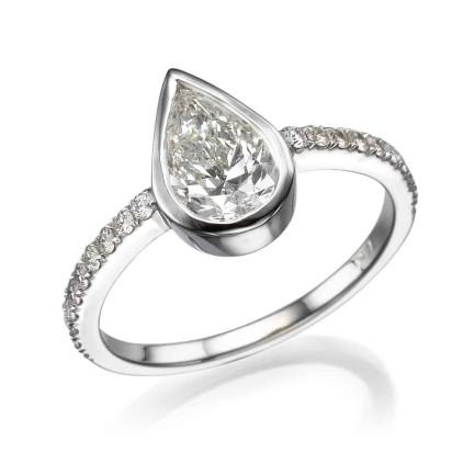 טבעת אירוסין - טבעת יהלומים - דגם טיפה בכוס