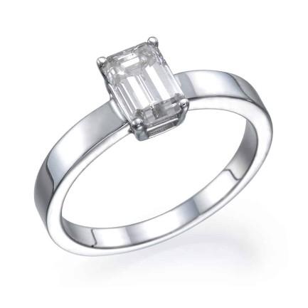 טבעת אירוסין - טבעת יהלומים - דגם אמרלד חלקה