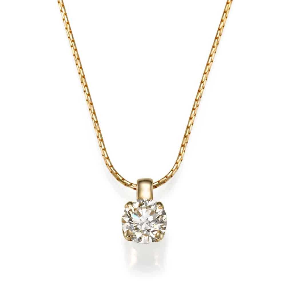 שרשרת יהלום - תליון יהלום קלאסי בצהוב