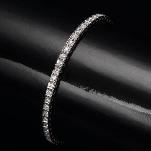 צמיד יהלומים - יהלומים עגולים בריבוע