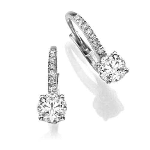 עגילי יהלומים - עגילים תלויים פטנט אנגלי משובץ