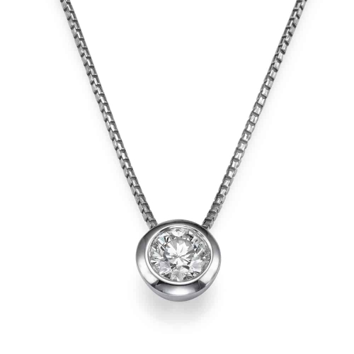 שרשרת יהלומים - תליון יהלום משובץ בכוס