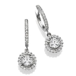 עגילי יהלומים - עגילי רונה תלויים