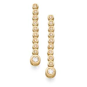 עגילי יהלומים - עגילי טופ דגרדה בצהוב