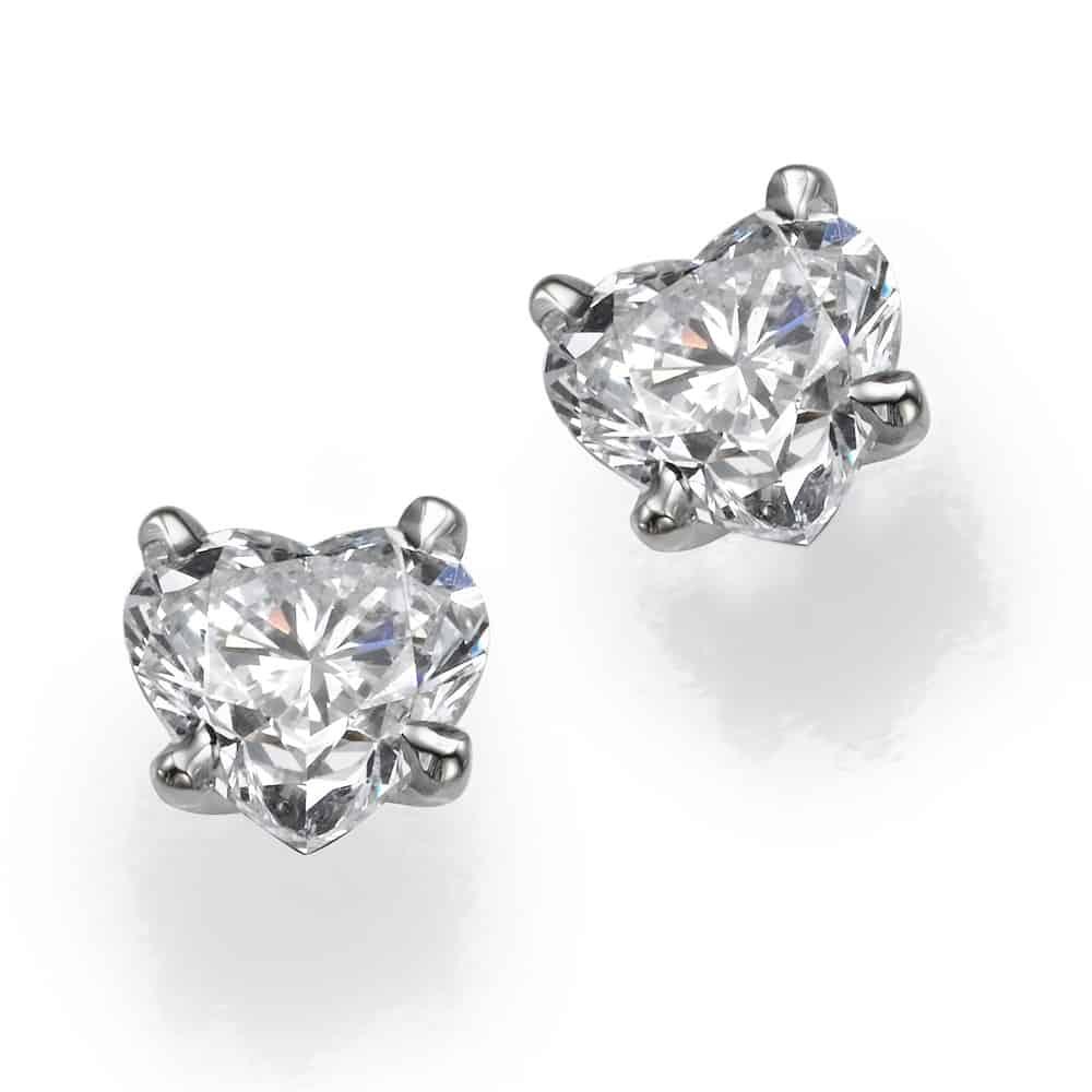 עגילי יהלומים דגם לב