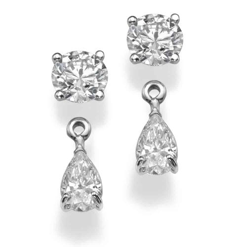 עגילי יהלומים - עגילי סוליטר וטיפה