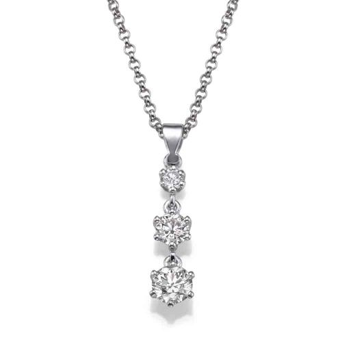 שרשרת יהלומים - 3 יהלומים תלויים