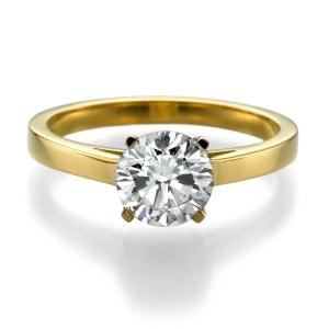 טבעת אירוסין - טבעת יהלומים - דגם טבעת סוליטר צהוב עמית 3