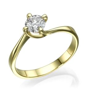 טבעת אירוסין - טבעת יהלומים - דגם טבעת סוליטר בצהוב מסובב