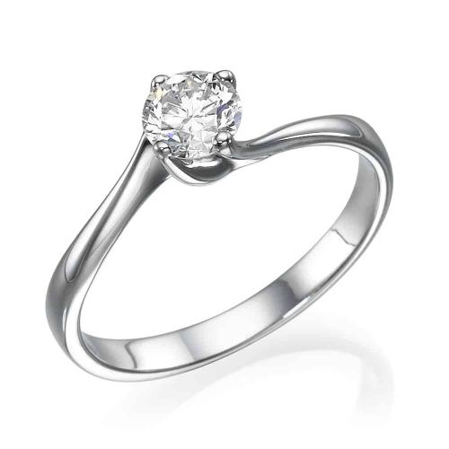 טבעת אירוסין - טבעת יהלומים - דגם טבעת סוליטר בלבן מסובב