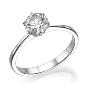 טבעת אירוסין - טבעת יהלומים - דגם טבעת סוליטר 6 שיניים