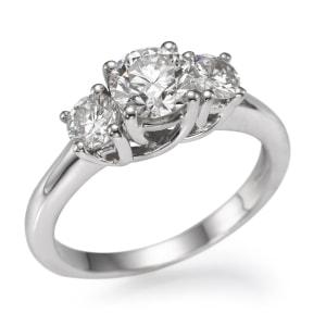 טבעת אירוסין - טבעת יהלומים - דגם טבעת טרי סטון עגול