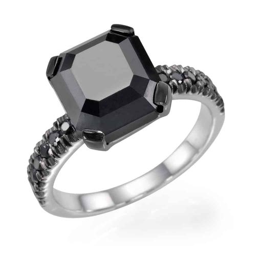 טבעת אירוסין - טבעת יהלומים - דגם טבעת רדיאנט בשחור