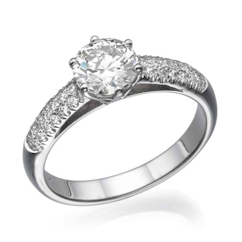 טבעת אירוסין - טבעת יהלומים - דגם פסטר בלבן
