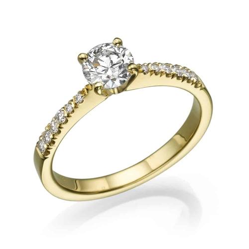 טבעת אירוסין - טבעת יהלומים - דגם סימה בצהוב
