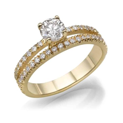 טבעת אירוסין - טבעת יהלומים - דגם כפולה בצהוב