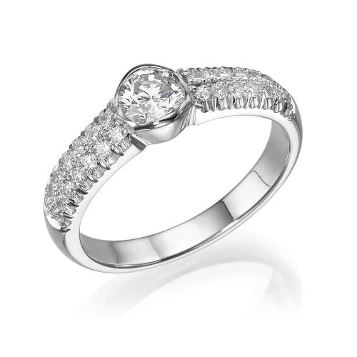 טבעת אירוסין - טבעת יהלומים - דגם כוס משובצת