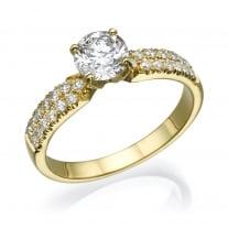 טבעת אירוסין - טבעת יהלומים - דגם זהב צהוב 2 שורות