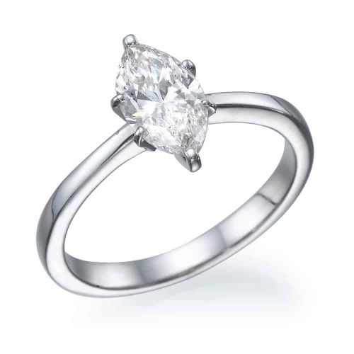 טבעת אירוסין - טבעת יהלומים - דגם מרקיזה חלקה