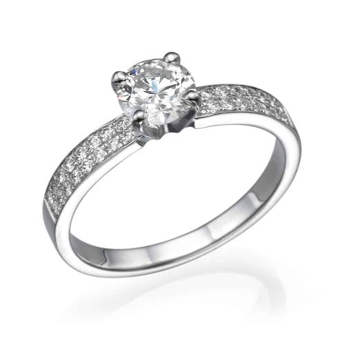 טבעת אירוסין - טבעת יהלומים - דגם טבעת זהב לבן 2 שורות