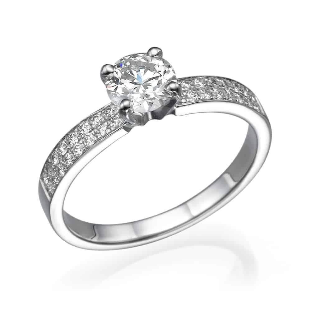 טבעת אירוסין זהב לבן 2 שורות