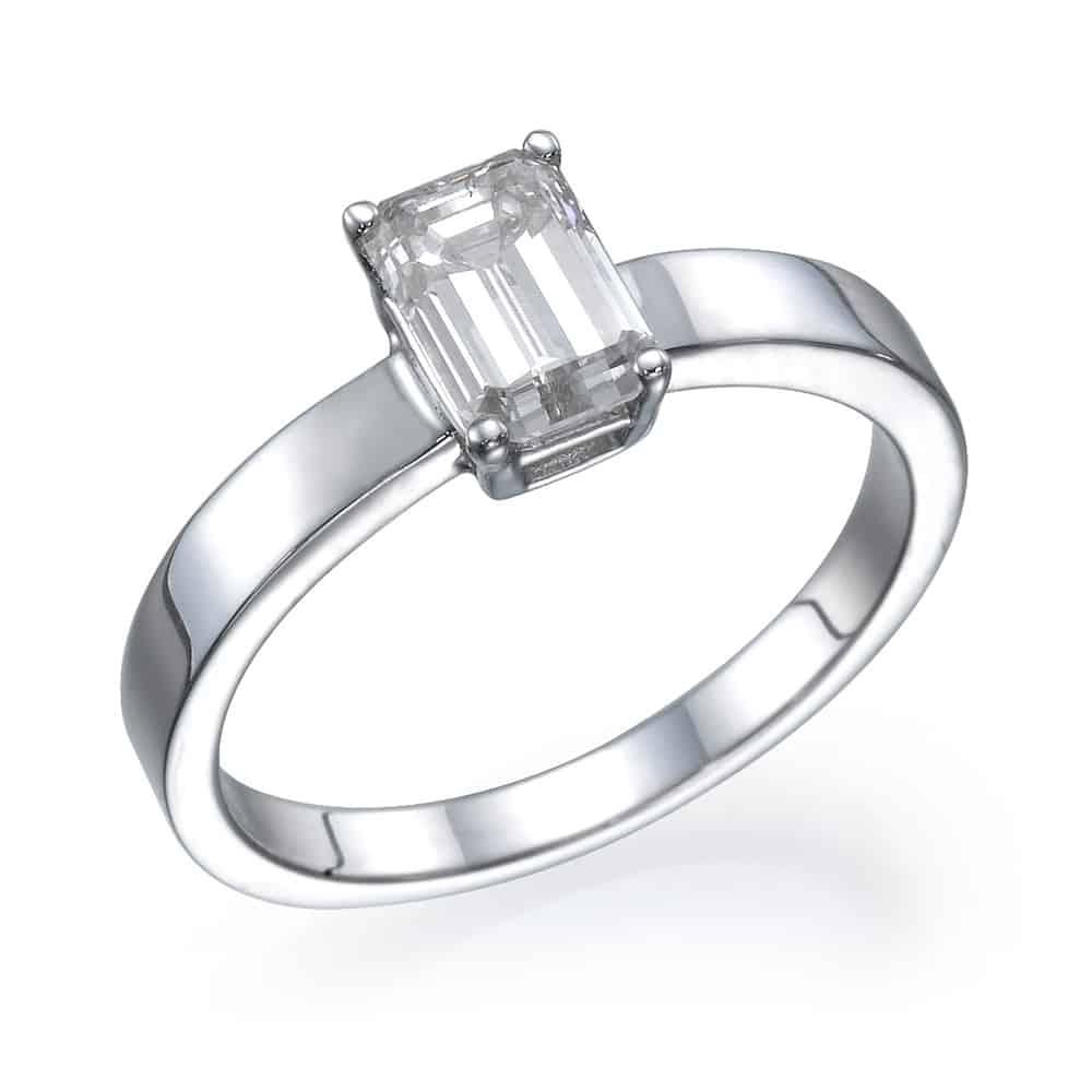 טבעת אירוסין אמרלד חלקה