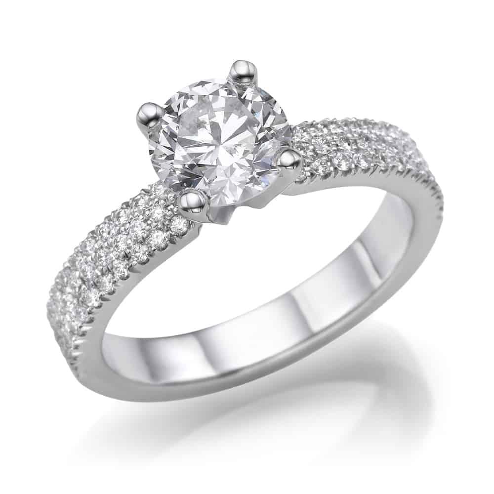 טבעת אירוסין מעוצבת 3 שורות