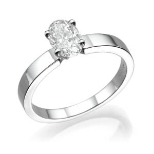 טבעת אירוסין - טבעת יהלומים - דגם אובל חלקה