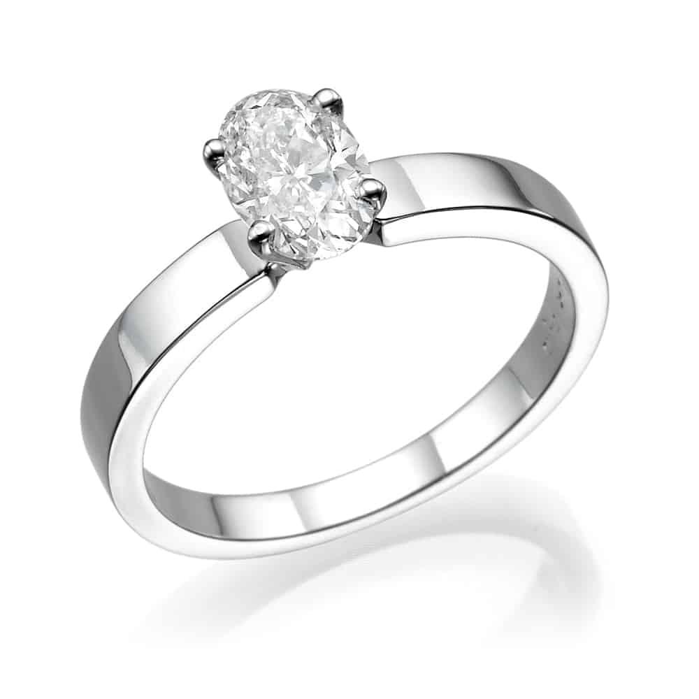 טבעת אירוסין אובל חלקה