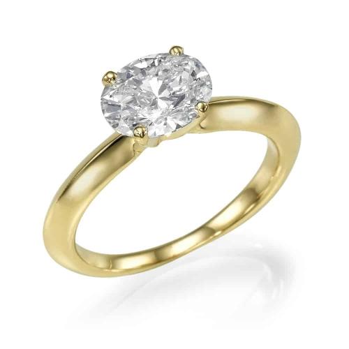 טבעת אירוסין - טבעת יהלומים - דגם אובל בצהוב