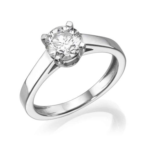 טבעת אירוסין משובצת יהלום מרכזי - דגם גיטה
