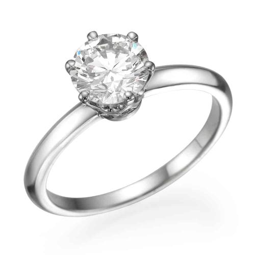 טבעת אירוסין משובצת יהלום מרכזי - אנריקו