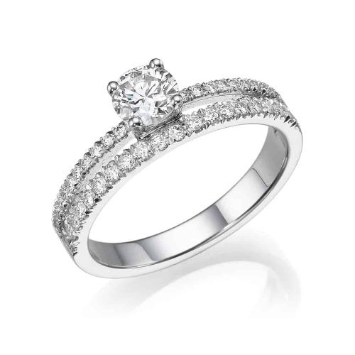 טבעת יהלומים - טבעת משובצת שתי שורות יהלומים