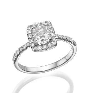 טבעת יהלומים רדיאנט משובצת עם אבנים קטנות
