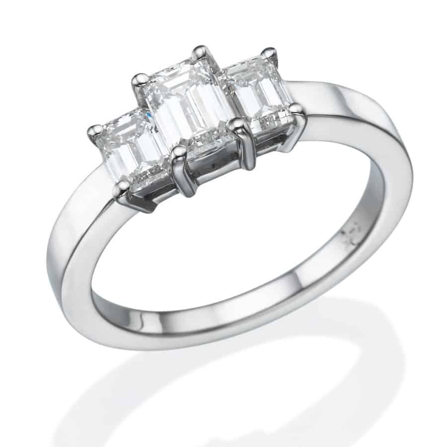 טבעת אירוסין טרי סטון אמרלד קאט