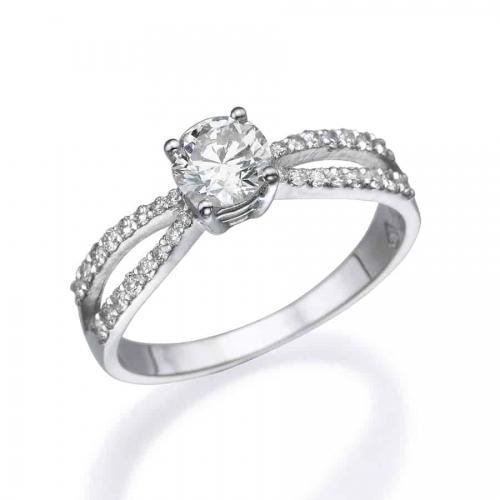 טבעת אירוסין 2 שורות