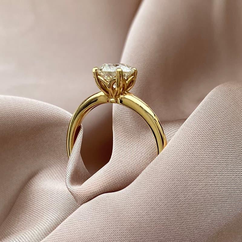 טבעת יהלום זהב 14k