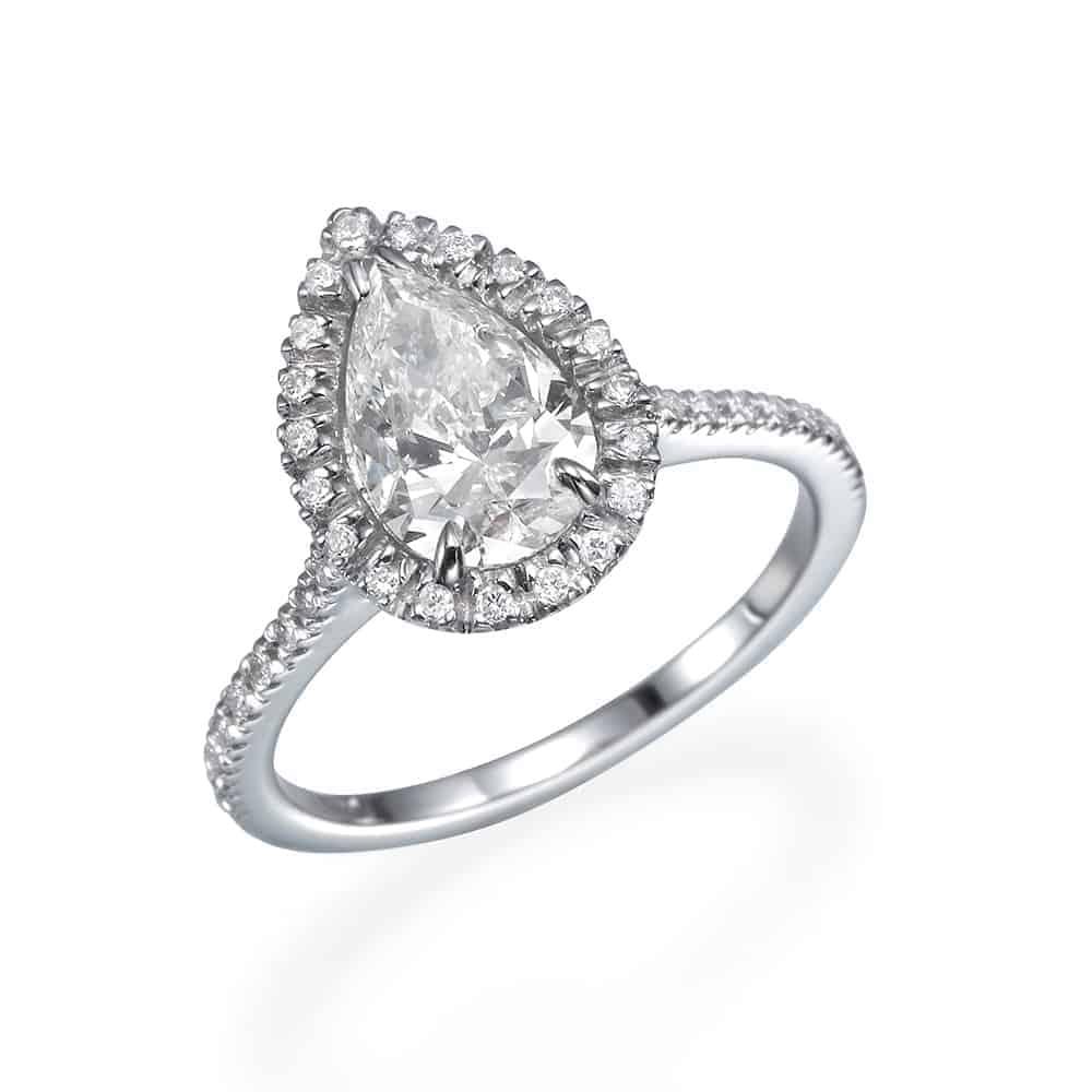 טבעת אירוסין, טבעת יהלום טיפה עם יהלומים צדדיים